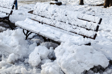 Wooden frosted bench