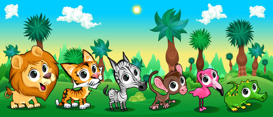Set of funny animals in the forest