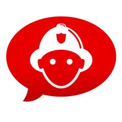 Etiqueta comentario roja bombero frontal