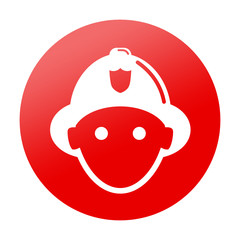 Etiqueta redonda roja bombero