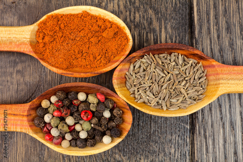 spices in spoons - 75479071
