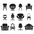 chair and sofa vector set - 75480068