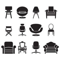 chair and sofa vector set