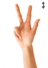 Close up Hand sign number  on Isolated white Background