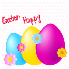 happy easter colorful eggs and flowers on dotted background