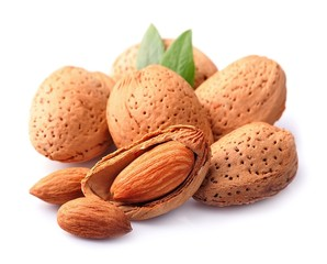Almonds nuts with leaves