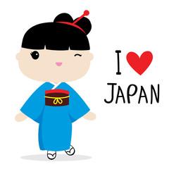 Japan Women National Dress Cartoon Vector
