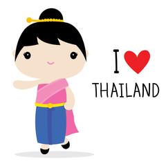 Thailand Women National Dress Cartoon Vector