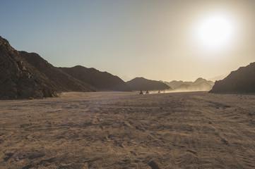 Quad bike safari through rocky desert
