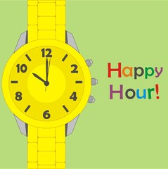 Vector yellow watch on green background