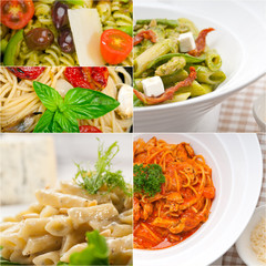 collection of different type of Italian pasta collage