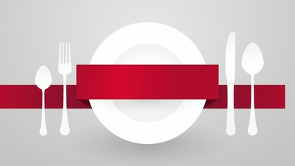 table setting with plates and cutlery and a red ribbon for label