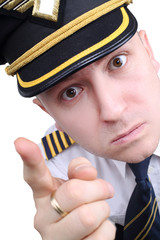 angry captain on a white background
