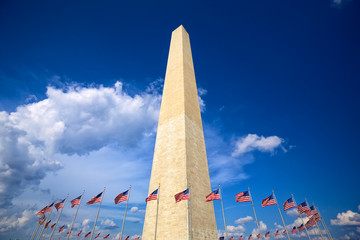 Washington Monument with american flags, Washington DC