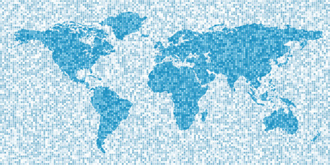 World map, mosaic style, abstract background
