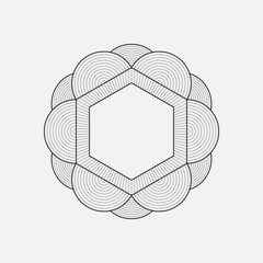 Geometric element, line design, hexagon frame