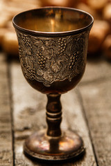 Medieval goblet and wine corks