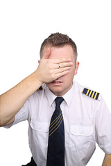 Pilot blinded on white background