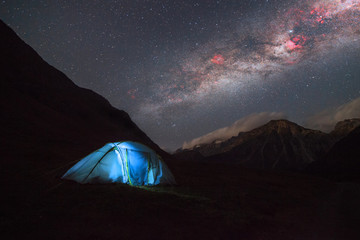 Tourist tent in the mountains under Milky way galaxy