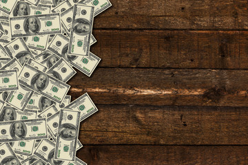 Banknotes on wooden background