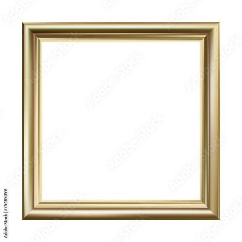 Gold picture frame, square, vector illustration - 75485059