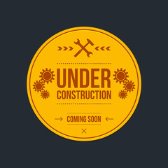Under construction sign, graphic design, vector