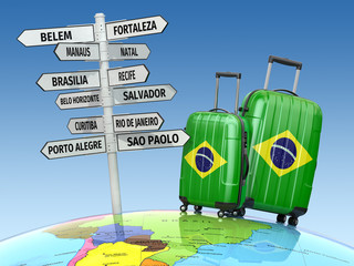 Travel concept. Suitcases and signpost what to visit in Brazil.
