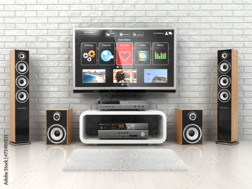 Home cinemar system. TV,  oudspeakers, player and receiver  in t - 75486831