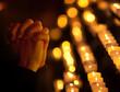 Leinwandbild Motiv Praying in catholic church. Religion concept.