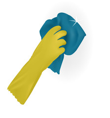Rubber gloves. Cleaning. wash. rag