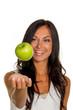 canvas print picture - Frau mit Apfel
