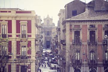 Mini market on the morning street of Catania.
