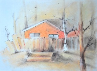 Rural landscape. Handwork drawing painted by pastel