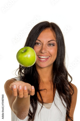 canvas print picture Frau mit Apfel