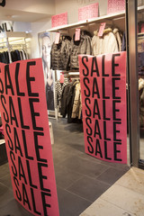 sale in shopping window