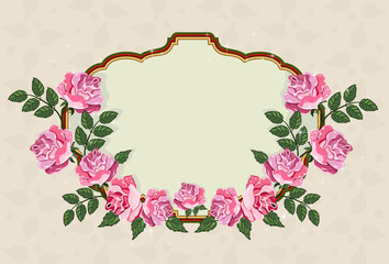 beautiful frame with roses and space for text. Elegant invitatio