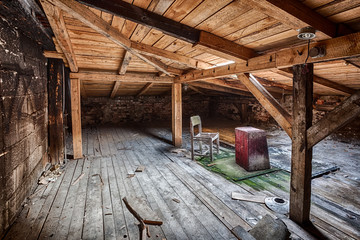 Attic in the destroyed building