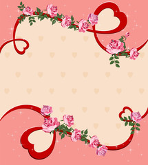 beautiful background with flower roses. Elegant card with  space