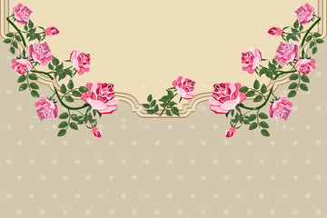 Beautiful background with rose flower. Elegance Vintage card.