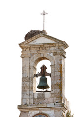 Church tower isolated on white in the city of Faro, Algarve, Por