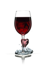 Wineglass with red heart
