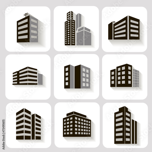 Set of dimensional buildings icons in grey and white with shadow - 75490615