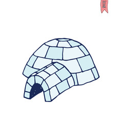 igloo icon, cartoon vector illustration