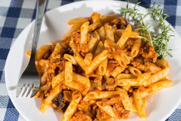 Macaroni with tomato