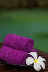 Towels with white frangipani flowers .