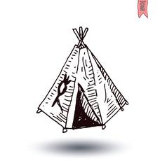 cartoon indian tent  vector illustration.
