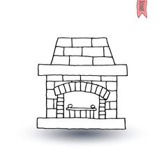 fireplace, vector illustration