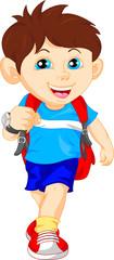 funny school boy with bag