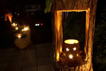 Nachtaufnahme Gartendeko mit Sternen
