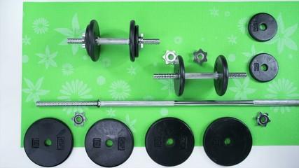 Weight Set on Green Mat